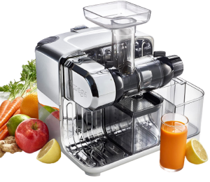 best juicer for greens 2021 Omega CUBE300S Cube Nutrition Center Juicer Creates Fruit Vegetable and Wheatgrass Juice Slow Masticating Compact Design with Convenient, 200-Watts, Silver