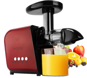 best juicer for greens 2021 KOIOS Juicer, Slow Masticating Juicer Extractor with Reverse Function, Cold Press Juicer Machine with Quiet Motor, Juice Jug and Brush for High Nutrie (Red-Black)