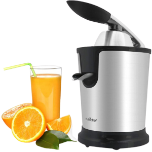 Stainless Steel Electric Juice Press-Citrus Juicer or Squeezer Masticating Machine w/ 160W Power