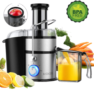 """KOIOS Centrifugal Juicer Machines, Juice Extractor with Big Mouth 3"""" Feed Chute,"""